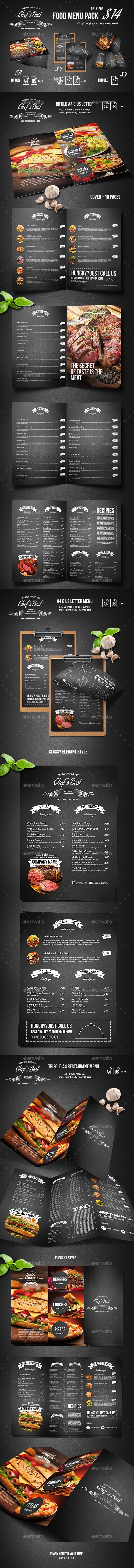 Chef Restaurant Menu Bundle - Food Menus Print Templates