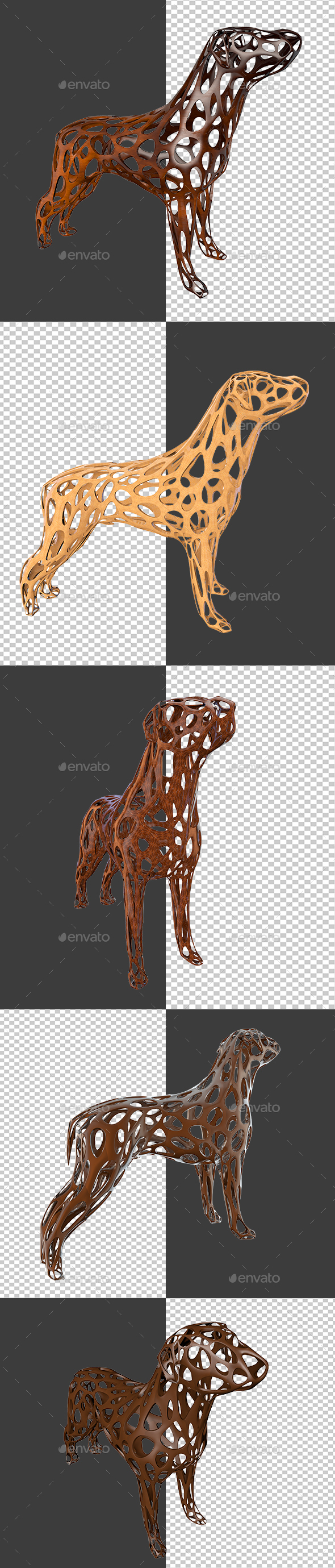 Dog Statue Made Of Wood - 3D Renders Graphics