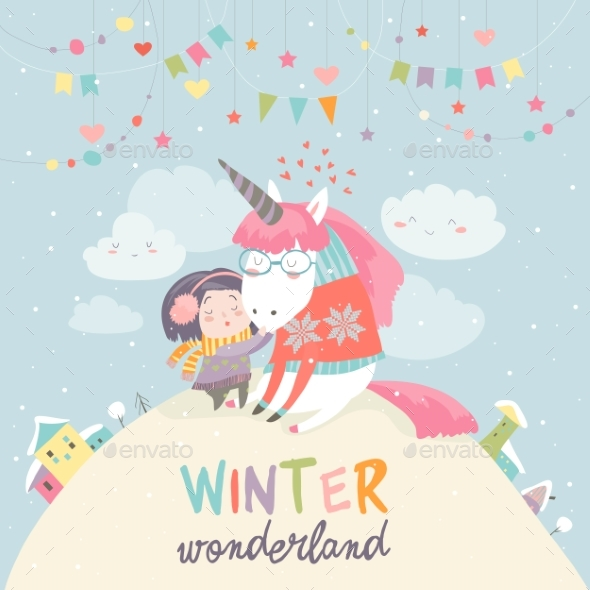 Girl Hugging Unicorn Winter Wonderland