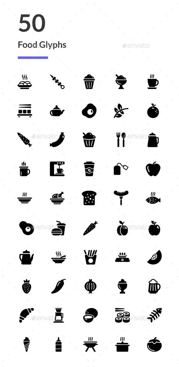 GraphicRiver 50 Food Glyph Icons 20752162