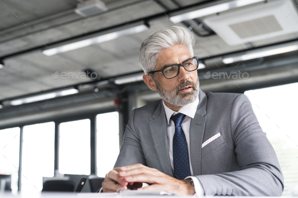 Mature businessman in gray suit in the office. - Stock Photo - Images