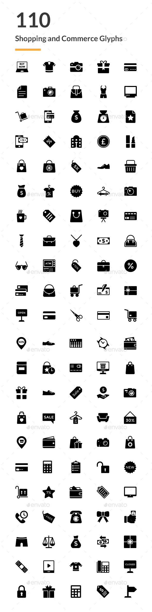 GraphicRiver 110 Shopping and Commerce Glyph Icon 20752316