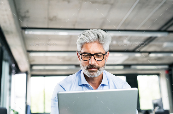 Mature businessman with laptop in creative office. - Stock Photo - Images