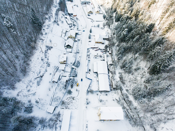 Aerial view of a village in winter. - Stock Photo - Images
