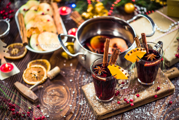 Spiced hot Christmas festive red wine - Stock Photo - Images