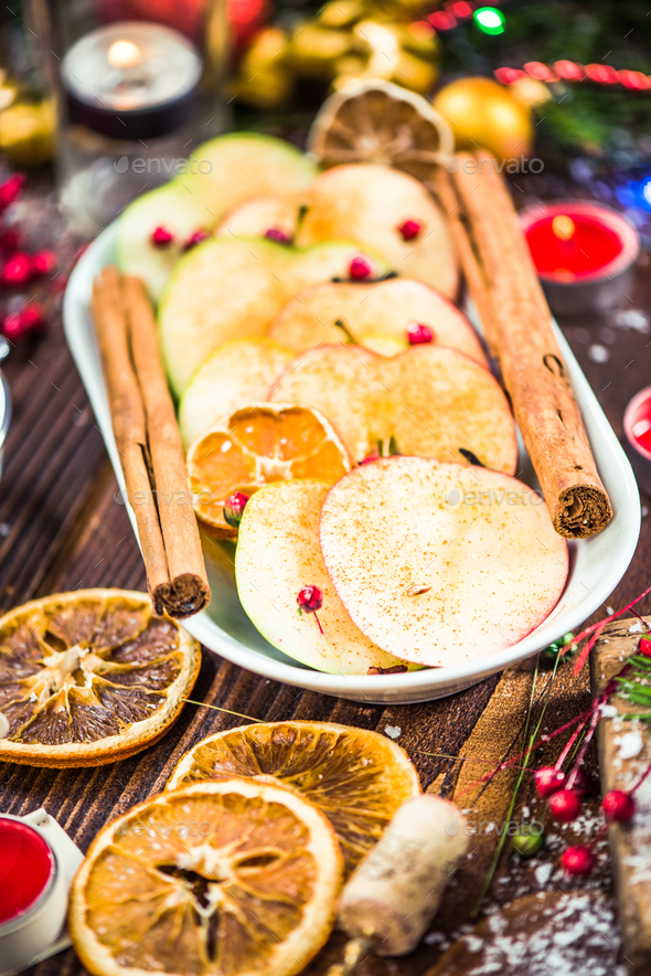 Spiced apples served on Christmas - Stock Photo - Images