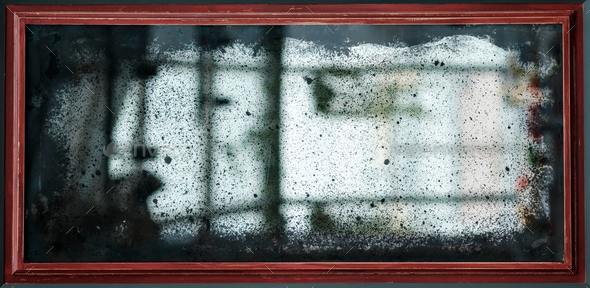 old vintage mirror with scratches and dust. - Stock Photo - Images