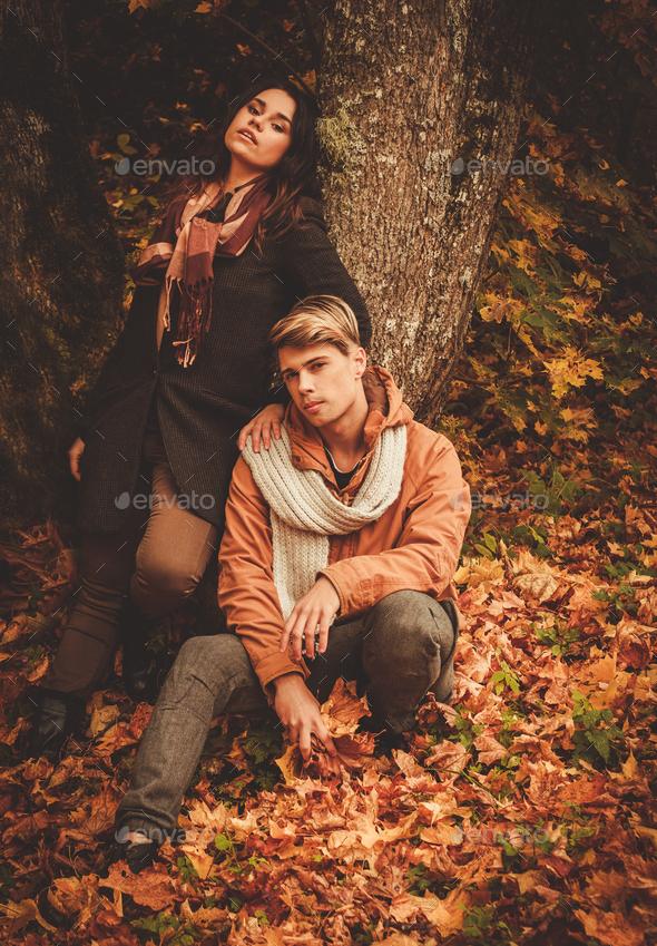 Lovely Couple In Autumn Park Stock Photo By Nejron Photodune