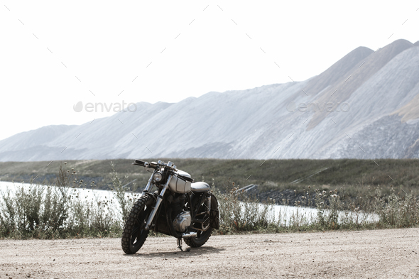 Motorcycle parking on road - Stock Photo - Images