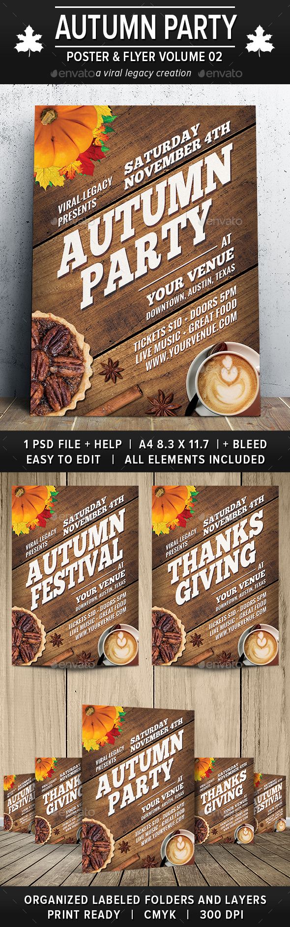 Autumn Party Poster / Flyer V02 - Flyers Print Templates