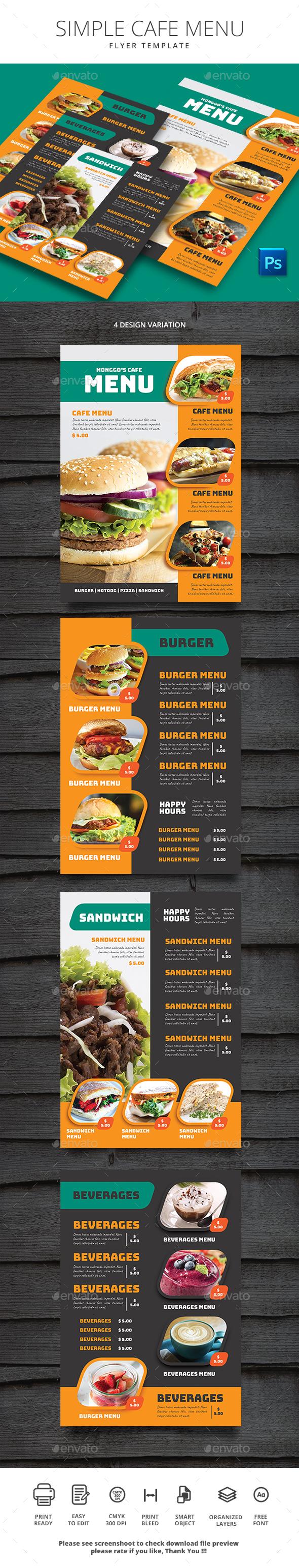 Simple Cafe Menu - Food Menus Print Templates