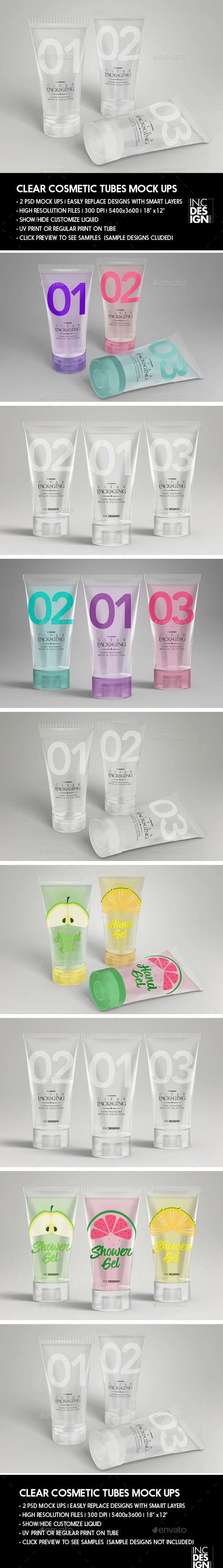 GraphicRiver Clear Cosmetic Tube MockUps 20753300