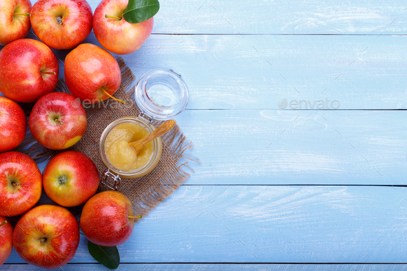 apple pure with cinnamon - Stock Photo - Images