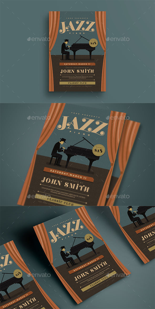 Jazz Piano Concert Flyer - Events Flyers