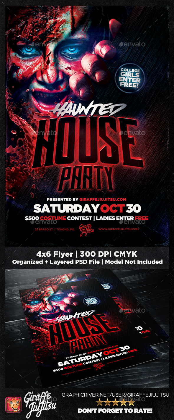 Haunted House Party Flyer Template - Clubs & Parties Events