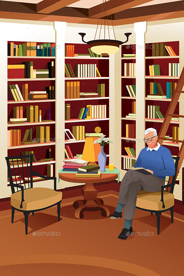 GraphicRiver Senior Man Reading a Book in the Library 20753971