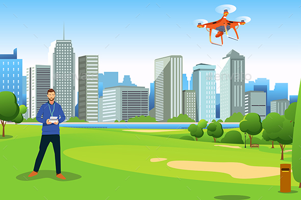 GraphicRiver Man Flying Drone in a Park Illustration 20753974