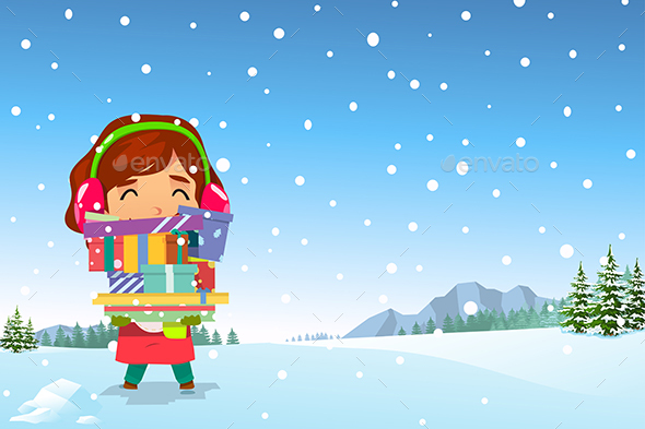 GraphicRiver Happy Girl Carrying Christmas Presents in the Snow 20753976
