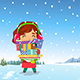 Happy Girl Carrying Christmas Presents in the Snow - GraphicRiver Item for Sale