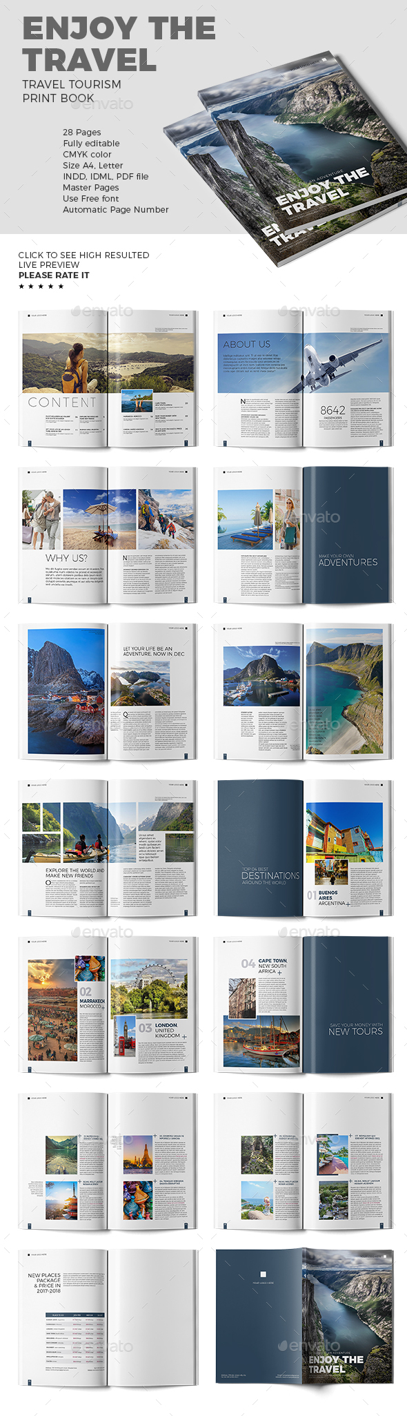 Enjoy The Travel - Travel Book Template - Print Templates
