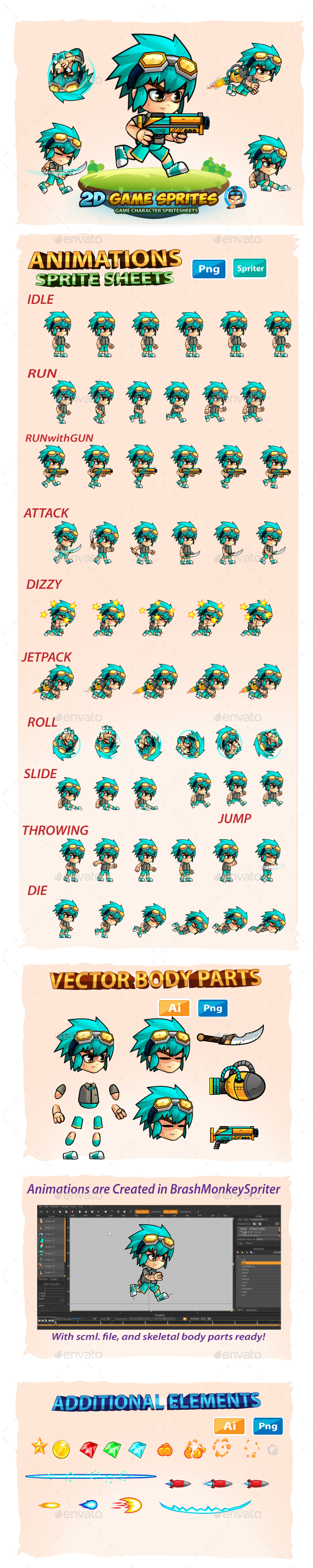 GraphicRiver 2D Game Character Sprites 20754072