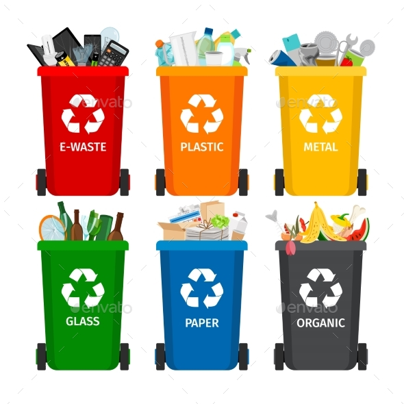 GraphicRiver Trash in Garbage Cans with Sorted Garbage 20754265