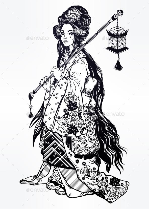 GraphicRiver Geisha Ornate Kimono Costume Lantern 20754730