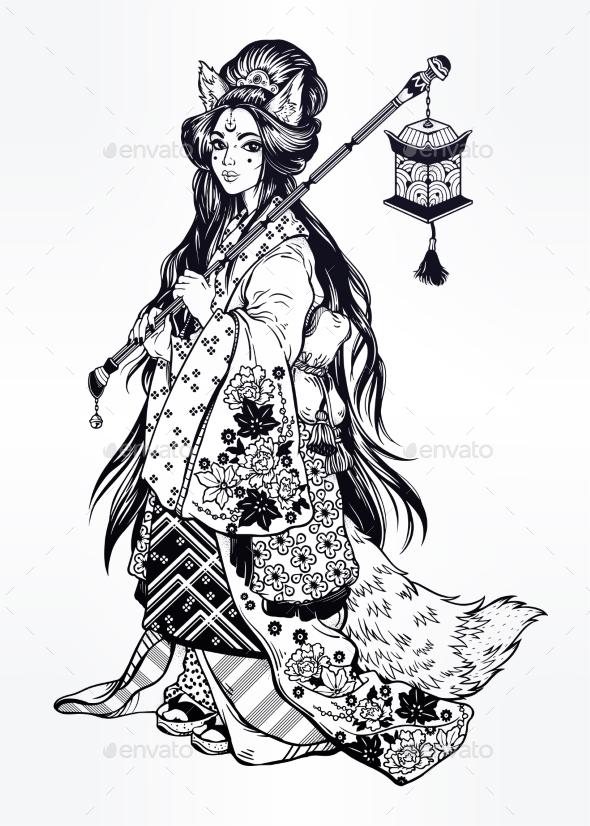 Demon Kitsune as Geisha with Ornate Kimono and Lantern - People Characters