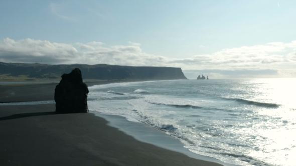 VideoHive Famous Reynisdrangar Rock Formations at Black Reynisfjara Beach Coast of the Atlantic Ocean 20754920