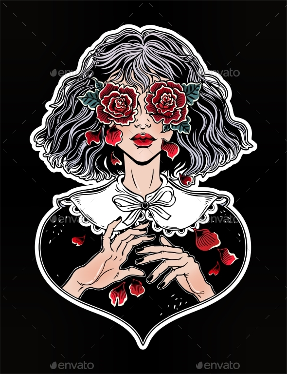 GraphicRiver Girl with Eyes as Roses Crying Rose Petal Tears 20755046