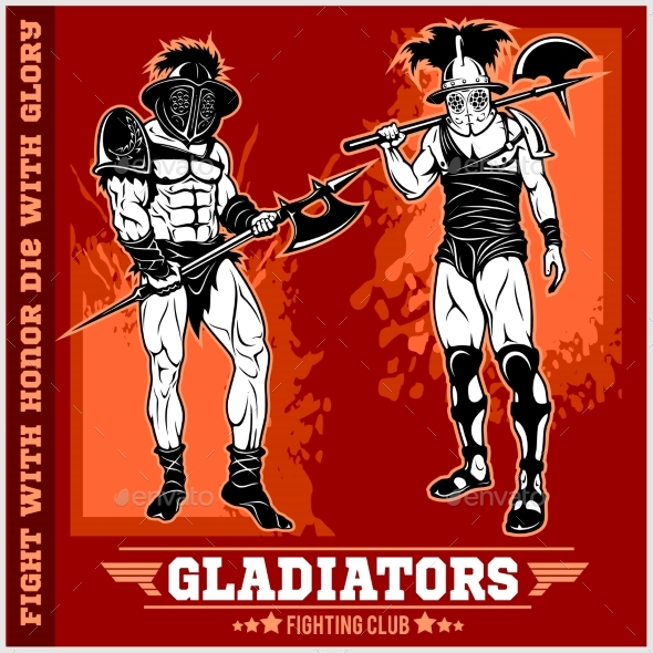 GraphicRiver Set of Gladiators on Red Background 20755278