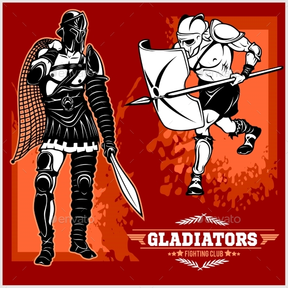 GraphicRiver Set of Gladiators on Red Background 20755280