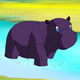 Little Violet Hippo Emerged from the Water - VideoHive Item for Sale