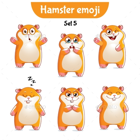 Set of Hamster Characters Set 5 - Miscellaneous Vectors