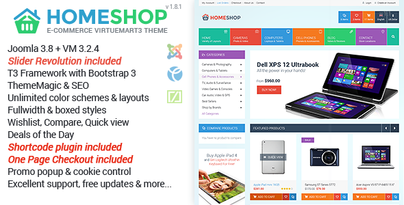 Homeshop Responsive Multipurpose VirtueMart Theme - VirtueMart Joomla