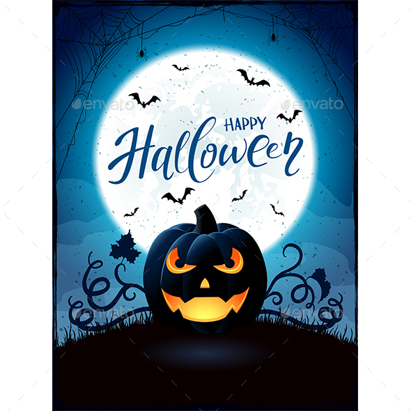 Halloween Theme with Jack O Lantern on the Moon Background - Halloween Seasons/Holidays
