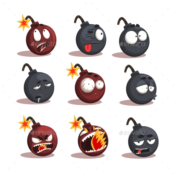 Cartoon Bomb Emotions Set - Miscellaneous Characters