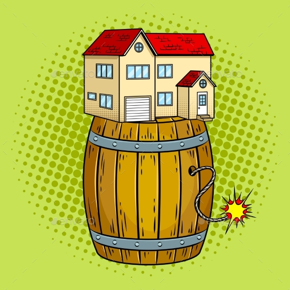 House on Powder Keg Pop Art Vector Illustration