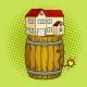 House on Powder Keg Pop Art Vector Illustration