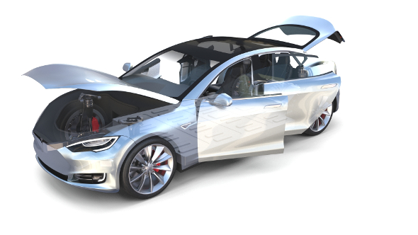 Tesla Model S 2016 Silver with interior and chassis model - 3DOcean Item for Sale