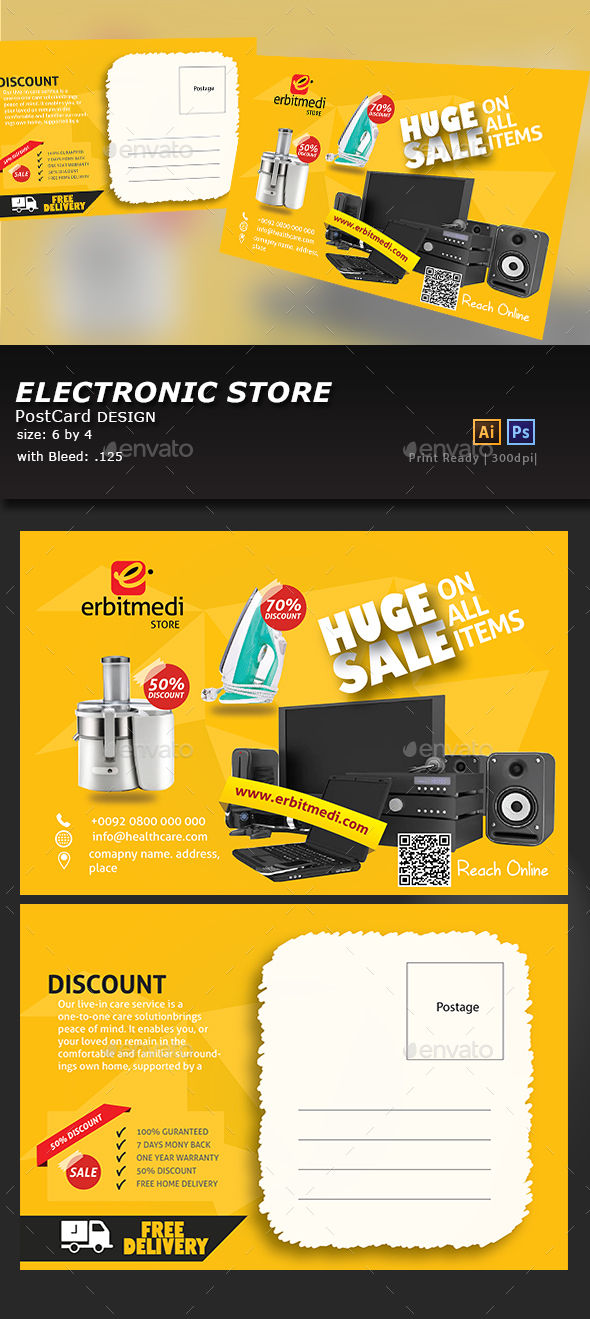 Electronic Store Post Card - Cards & Invites Print Templates
