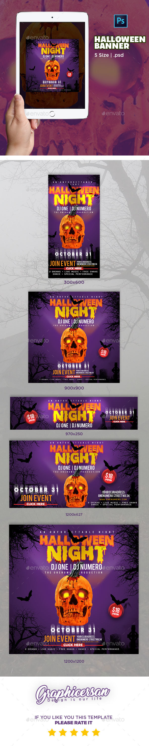 Halloween Banner - Banners & Ads Web Elements