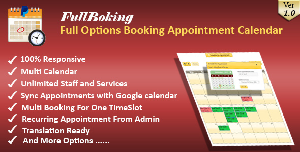 FullBooking - Full Options Appointment Booking and Scheduling for Wordpress