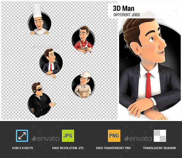 GraphicRiver 3D Man in Different Jobs Coming Through Circular Holes in Wall 20757020