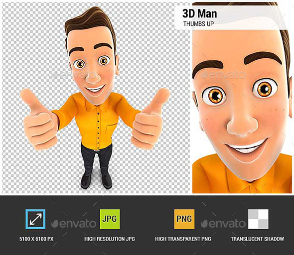 3D Man Thumbs Up - Characters 3D Renders