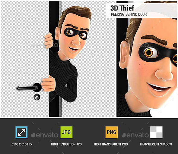 3D Thief Peeking Behind a Door - Characters 3D Renders