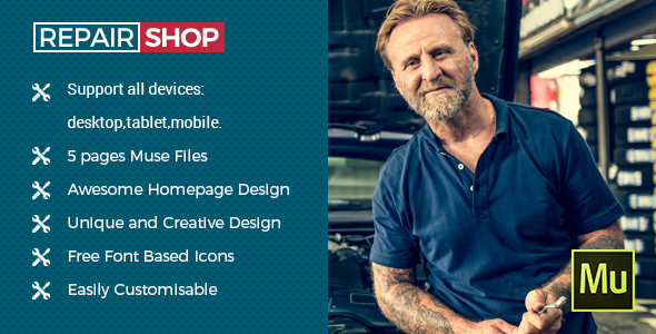 Download Repair Shop - Muse Template for Mechanic Workshops, Auto Repair and Cars            nulled nulled version