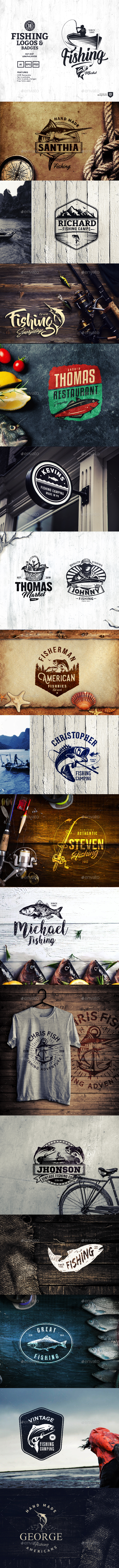 18 Fishing Logos and Badges - Badges & Stickers Web Elements