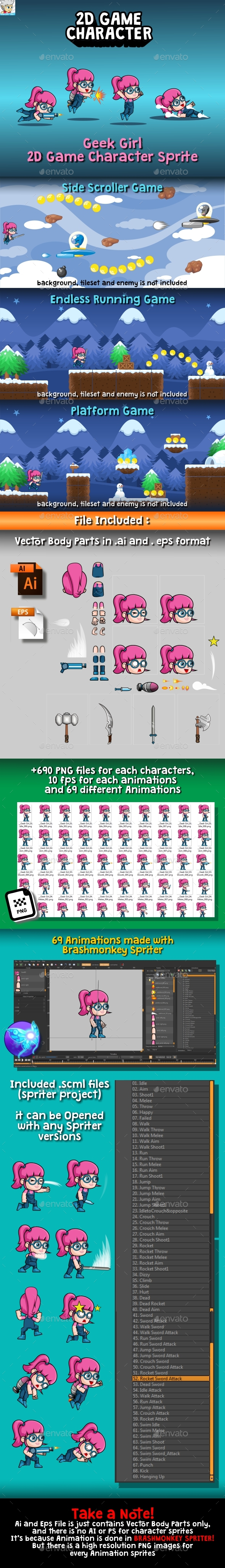 GraphicRiver Geek Girl 2D Game Character Sprite 20757141