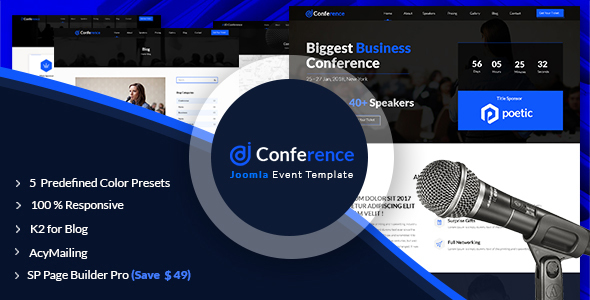 JD Conference – Advanced One Page Joomla Event Template - Events Entertainment